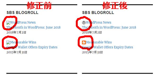 SBS Blogrollプラグインのfaviconを表示するカスタマイズ