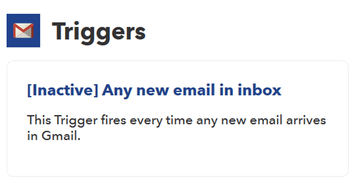 IFTTTのGmailのトリガーが[Inactive]で使えない