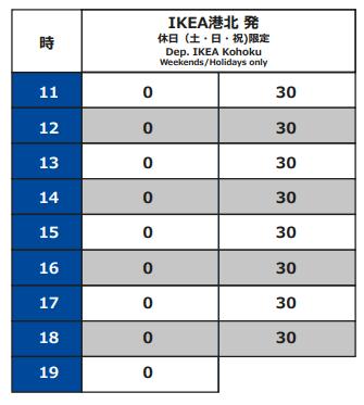 IKEA港北発 ららぽーと横浜行き 時刻表